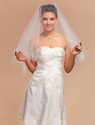 Simple One-tier Elbow Wedding Veils With Pencil Edge