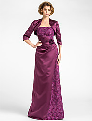 Lanting Bride Sheath / Column Plus Size / Petite Mother of the Bride Dress - Wrap Included Floor-length 3/4 Length Sleeve Lace / Satin