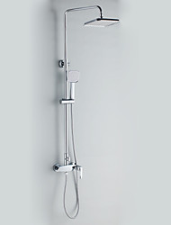 Contemporary Style Chrome Finish Wall Mounted Shower Faucets with Diameter 20cm Shower Head + Hand Shower