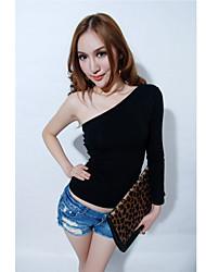 Sexy Наклонный женский плеча стройная футболку