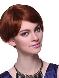Capless 100% Human Hair Short Straight Brown Hair Wigs