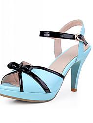 Damenschuhe - Sandalen / High Heels - Kleid - Kunstleder - Stöckelabsatz - Zehenfrei - Schwarz / Rosa