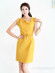 Women's Solid Yellow Dress , Work Asymmetrical Sleeveless