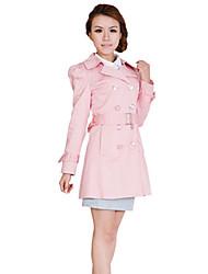 JDUO Reverskragen Doppel Breast Windbreaker (Pink)