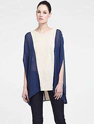Ziguezague blusa manga comprida de seda malha