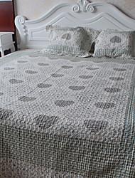 Coração 3 peças lavadas algodão floral conjunto quilt