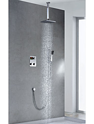 Contemporary Chrome Finish Thermostatic LED Digital Display Brass 8 inch Square Showerhead + Handshower