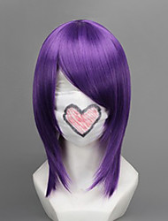 Cosplay Wigs Gintama Terakado Tsu Purple Medium Anime Cosplay Wigs 45 CM Heat Resistant Fiber Female