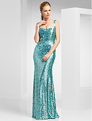 Prom/Military Ball/Formal Evening Dress Sheath/Column Straps Sweep/Brush Train Sequined