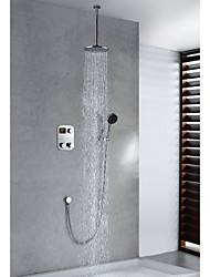 Contemporary Thermostatic LED Digital Display Brass 8 inch Round Showerhead + Handshower