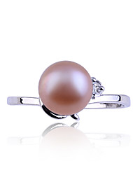 Lureme®Diamond Inlaid Pearl Ring (Assorted Color)