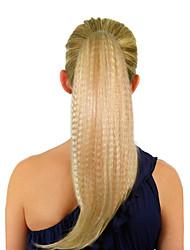 Top qualité grade synthétique Blond clair Fluffy longue queue de cheval