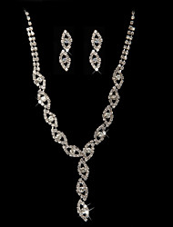 High Quality Czech Rhinestones With Alloy Plated Wedding Bridal Jewelry Set,Including Necklace And Earrings