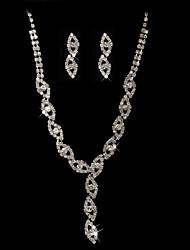 strass de haute qualité en alliage de mariage tchèque avec des bijoux en plaqué mis de mariée, y compris le collier et boucles d'oreilles