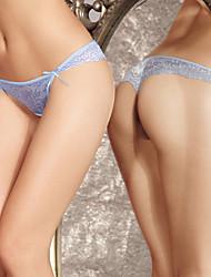 Azul Tanga de malla bordado (cintura :50-82cm)