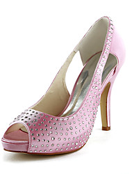 Beautiful Satin Stiletto Heel Peep Toe With Rhinestone Wedding Shoes (More Colors)
