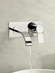 Wall Mounted Single Handle Two Holes in Chrome Bathroom Sink Faucet