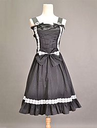 Sleeveless Knee-length Black Cotton Princess Lolita Dress