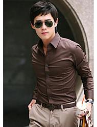 Collier Men 's Casual Shirt équipée shirt manches pur Long Couleur