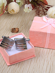 Gift Groomsman Personalized Square Silver Cufflinks