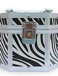En alliage d'aluminium verrouillable Cosmetic Box Avec Zebra maquillage Print Case 17.5 * 15.5 * 13cm