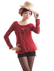 Plissados Zhi malha YUAN Renda camisa (mais cores)