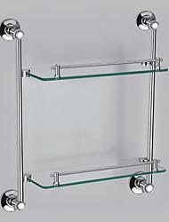 Contemporáneo Style cromado latón montado en la pared estante de vidrio (2 Capas, Forma Rectángulo)