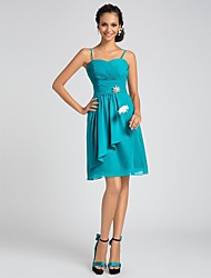 Knee-length Chiffon Bridesmaid Dress - Jade Plus Sizes A-line/Princess Sweetheart/Spaghetti Straps