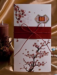 Elegant Cherry Blossom Wedding Invitation With String Bow-Set Of 50/20