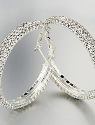Alliage de charme avec brillant Boucles d'oreilles en cristal ronds (Longueur * Largeur 50 * 50 mm)