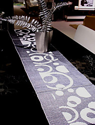Noir Motif Cercle Runner Table Coton