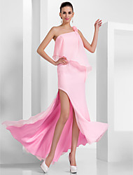Prom / Formal Evening Dress - Plus Size / Petite Sheath/Column One Shoulder Floor-length / Asymmetrical Chiffon