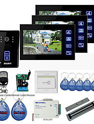 "New 7"" Touch Panel Video Door phone System with 3 Monitors(RFID keyfobs,Magnetic lock,Remote Control)"