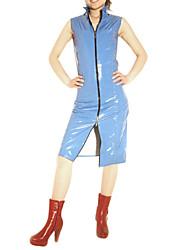 Sky Blue Reißverschluss Kleid PVC Catsuit