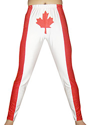 White and Red Maple Spandex Pants