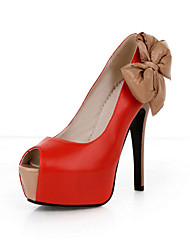 Leatherette Stiletto Heel Peep Toe With Bowknot Party / Evening Shoes (More Colors)