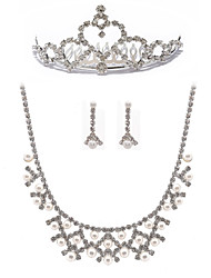 Gorgeous Two Piece Ladies Pearl Necklace and Earrings Jewelry Set (50 cm)