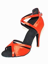 Satin avec boucle cheville de femmes personnalisés latine / Ballroom Dance Shoes avec boucle (plus de couleurs)