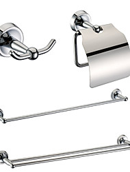 Chrome Finish Bathroom Accessory Sets (Include Robe Hooks,Toilet Roll Holders,2 Towel Bars - Brass)