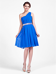 Knee-length Chiffon Bridesmaid Dress - Royal Blue Plus Sizes / Petite A-line / Princess One Shoulder