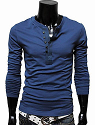 Men's Colorful Round Thin Long Sleeve T-shirt