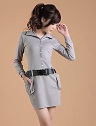 ZHI YUAN cinturón solapa Collar Decor vestido de manga larga (más colores)