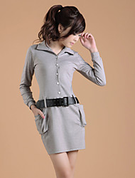 ZHI YUAN Lapel Collar Belt Decor Long Sleeve Dress(More Colors)