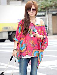 Women's Chiffon Oversize One Shoulder Print Blouse