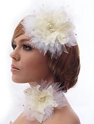 Schöne Silk Screen mit Strass und Federn Kopfschmuck Blume