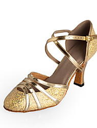 Customizable Women's Dance Shoes Modern Sparkling Glitter Stiletto Heel Gold