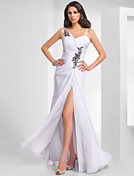 Formal Evening / Military Ball Dress - Elegant Sheath / Column V-neck / Spaghetti Straps Floor-length Chiffon withAppliques / Draping /