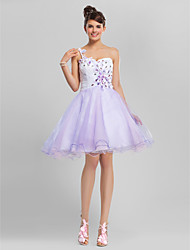 Homecoming Cocktail Party/Homecoming/Sweet 16 Dress Plus Sizes A-line/Ball Gown One Shoulder/Sweetheart Knee-length Tulle