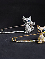 Women's Qute Green Eye Cat Zircon Brooch
