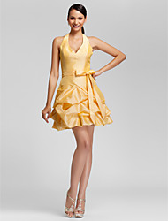 A-Line Ball Gown Halter V-neck Short / Mini Taffeta Bridesmaid Dress with Beading Pick Up Skirt Ruffles by LAN TING BRIDE®
